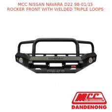 MCC BULLBAR ROCKER FRONT WITH WELDED TRIPLE LOOPS - NISSAN NAVARA D22 (98-01/15)